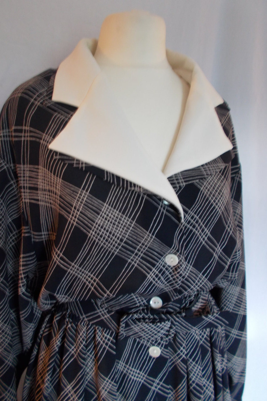 New 1930s Mens Fashion Ties Vintage Dress Jaeger Black Cream Checked Dress Shirt Waister Matching Belt Size Medium $25.00 AT vintagedancer.com