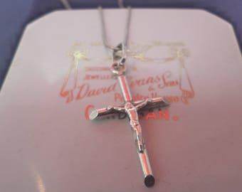 "A vintage sterling silver crucifix pendant necklace - 925 - sterling silver - 16"" necklace"