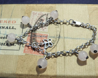 """A pretty rose quartz and sterling silver bracelet - butterfly charm - 925 - sterling silver - 7"""" - l"""