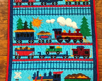 """Choo Choo Train Fun 35""""W x 45""""L *Stippling Quilted* Baby Crib Toddler Napping Child Quilt Lap Blanket  *Ready to Ship *1 Available"""