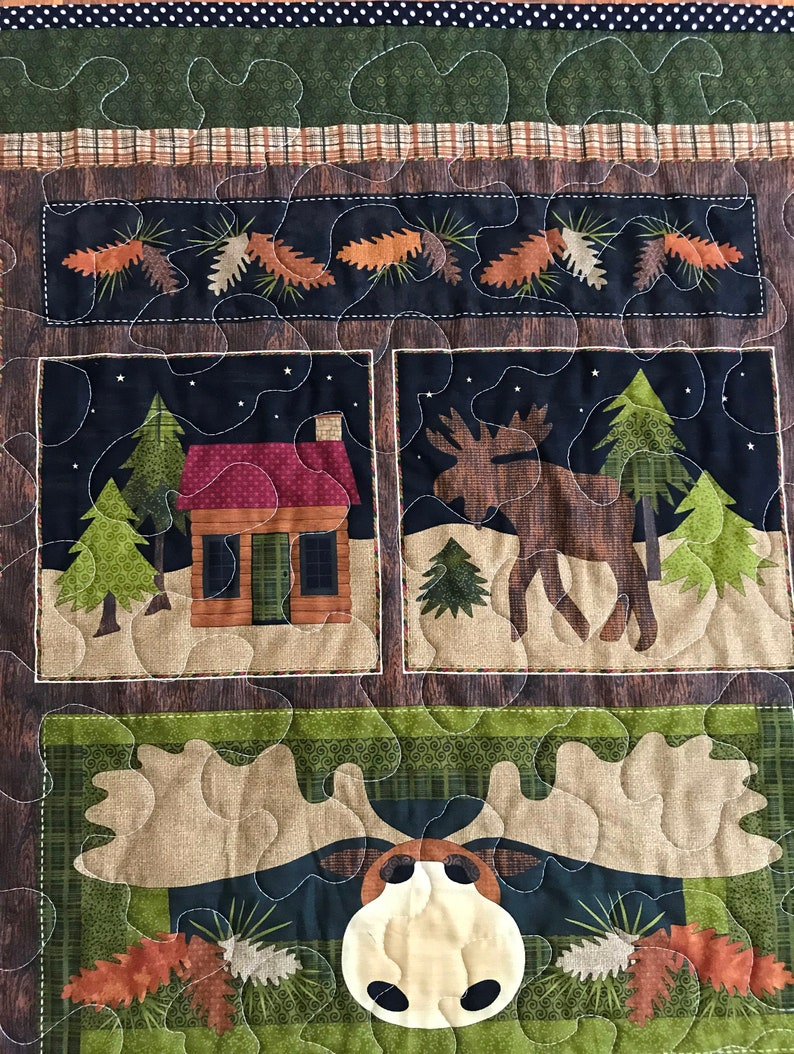 Nature/'s Moose on the Loose* 36Wx44L  Stippling Quilted Wilderness Forest baby nursery crib toddler napping blanket bedding *Ready to Ship