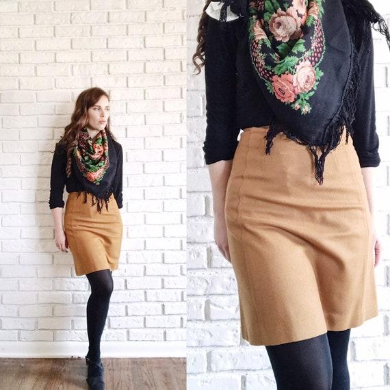 1960s Brown Wool Mini Skirt