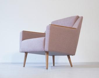 Original Scandinavian Cocktail Chair. Mid Century. Art Deco. Retro 50s 60s  Danish. Dusky Pink Wool Weave. Excellent Condition.