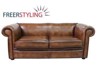 Vintage Chesterfield 1930u0027s 3 Seater Antique Tan Leather Sofa Settee.  British Handmade. Top Quality
