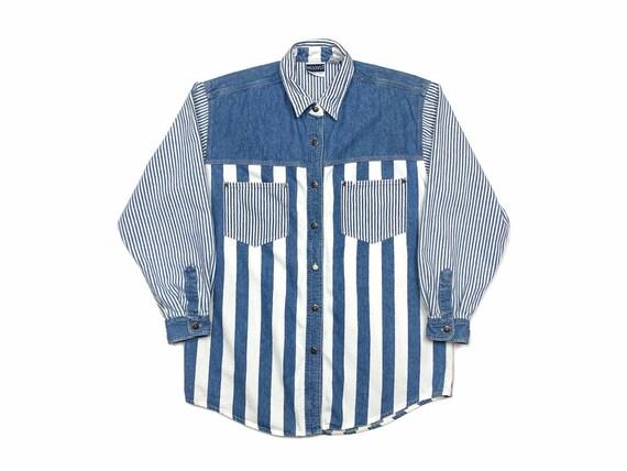 Vintage 90s Denim Stripe Button Down Shirt