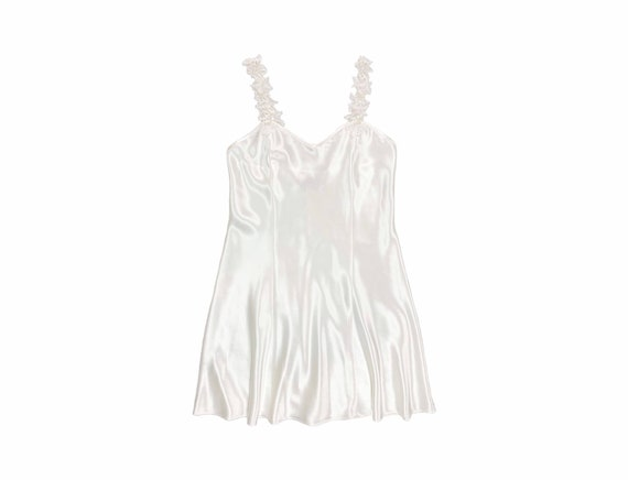 Vintage White Satin Mini Slip Dress • Medium