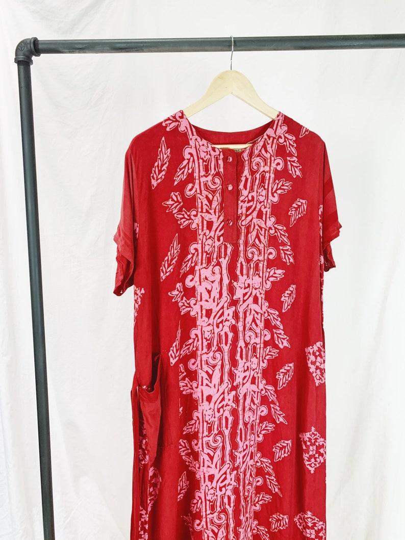 Vintage 70s Batik Tie-Waist Caftan
