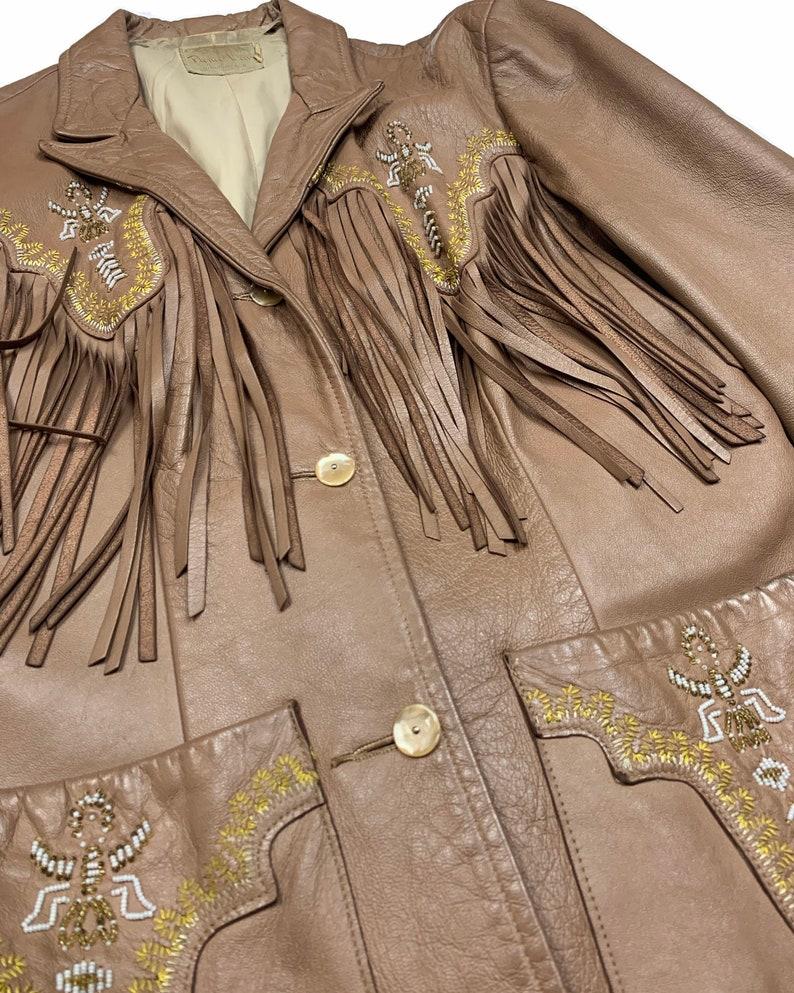 Vintage 50s RARE Pioneer Wear Beaded Fringe Leather Jacket \u2022 ML