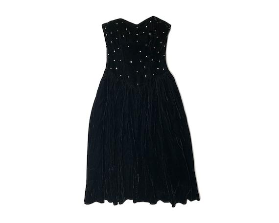 Vintage 80s Rhinestone Velvet Bustier Dress