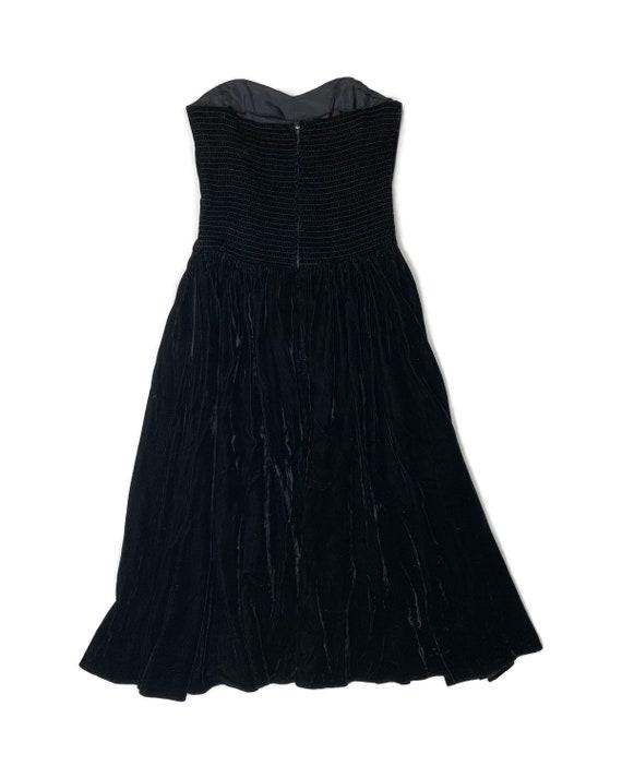 Vintage 80s Rhinestone Velvet Bustier Dress - image 4