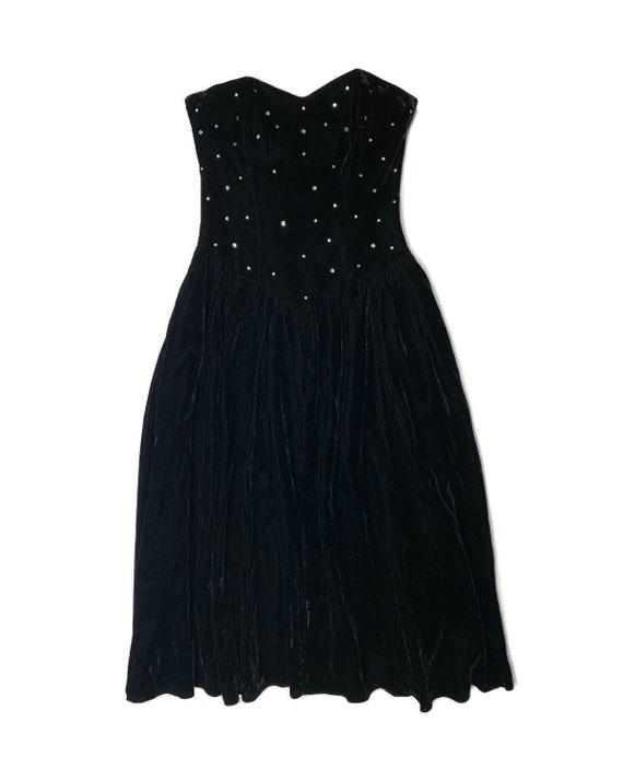 Vintage 80s Rhinestone Velvet Bustier Dress - image 3