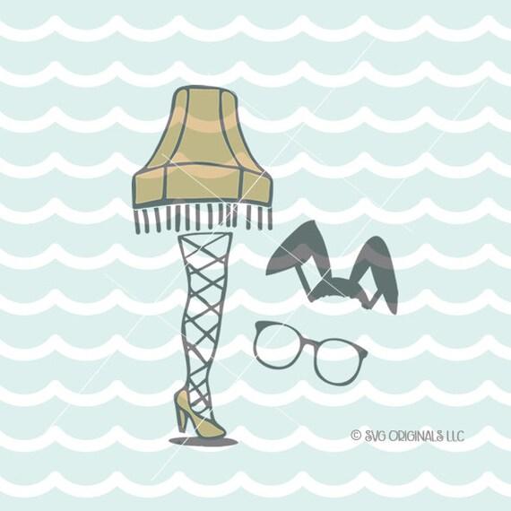 A Christmas Story Leg Lamp Svg Vector File Hand Drawn Leg Lamp Merry Christmas W Bonus Bunny Ears And Glasses