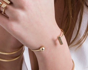 Adjustable Bangle Bracelet, Gold Cuff Bracelet, Thin Bangle, Open Cuff Bracelet, Stackable Bracelet, Elegant Bracelet, Trendy Boho Bracelet