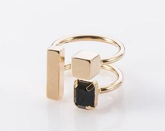Gold Ring For Women, Swarovski Black Ring, Adjustable Ring, Stylish Ring, Modern Ring, Geometric Square Ring, Artistic Ring, Open Ring