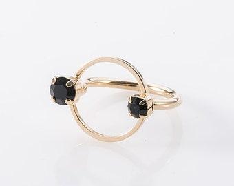 Elegant Circle Ring, Swarovski Black Ring, Gold Plated Ring, Ring For Women, Geometric Ring, Artistic Ring, Modern Ring, Dainty Gold Ring