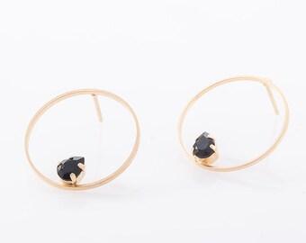 Stud Hoop Earrings, Circle Stud Earrings, Boho Fashion Earrings, Minimalist Gold Earrings, Designer Earrings, Swarovski Black Earrings