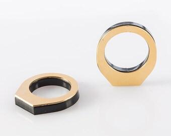 Modern Ring, Black Gold Band, Geometric Ring, Designer Ring, Stackable Acrylic Rings, Bohemian Fashion Ring, Statement Ring, Thin Gold Ring