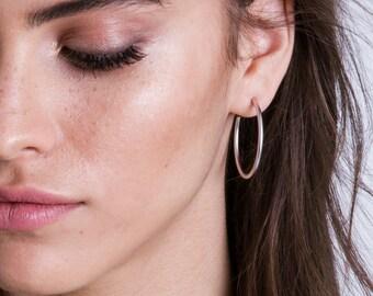 Big Silver Hoop Earrings, Thin Hoop Earrings, Round Earrings, Casual Hoop Earrings, Everyday Hoop Earrings, Boho Earrings, Punk Earrings
