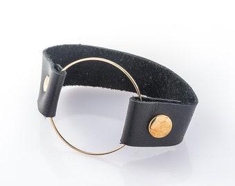 Womens Leather Cuff Bracelet, Designer Bracelet, Handmade Bracelet, Black Wristband, Circle Bracelet, Boho Bracelet, Punk Bracelet