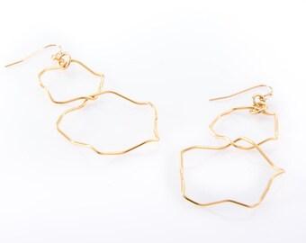 Circle Drop Earrings, Geometric Earrings, Long Gold Earrings, Large Dangle Earrings, Big Handmade Earrings, Unique Stylish Earrings