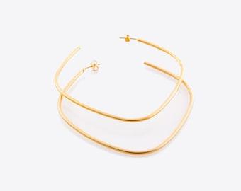 Large Gold Plated Earrings, Thin Hoop Earrings, Big Fashion Hoops, Boho Earrings, Giant Square Hoops, Geometric Earrings, Oversized Hoops