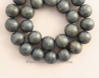 Charcoal Natural Wood Beads 16mm Black Round Large Hole 16 Inch Strand
