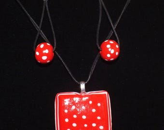 Necklace and earrings red with white polka dots