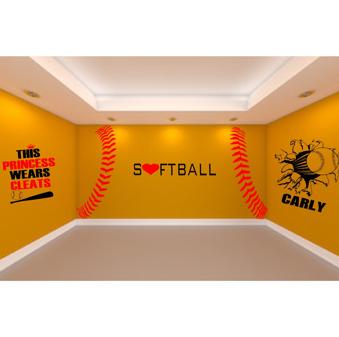 Ultimate Softball Room 5 Large Softball Wall Decals To Create Etsy