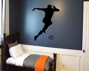 Soccer Player Wall Decal - soccer wall decor, sports decal, kids room wall art, futbol wall decal, futbol, sports wall decal