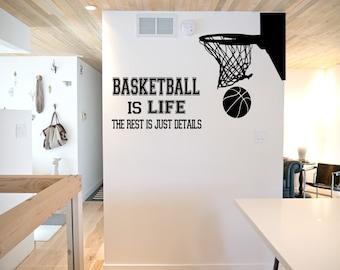 Basketball is Life Wall Decal - basketball wall decor, basketball vinyl, basketball sports decal, basketball hoop, sports wall decal