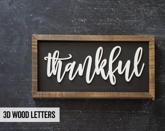 Thankful - Wood Sign - Farmhouse Decor - Rustic Decor
