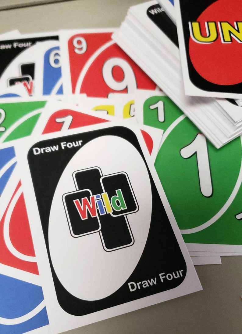 custom uno card deck playing cards family game night  etsy