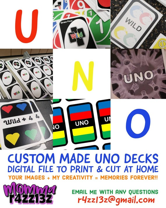 Custom Uno Cards Digital Download Deck Playing Cards Family Etsy
