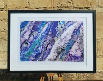 Original Silk Painting ~ Purple Wall Decor, Fluid Wall Art, Abstract Violet Painting, Blue and Purple Art, Modern Wall Art, Navy Silver Art