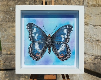 Original Butterfly Painting ~ Purple Emperor Painting, Butterfly Wall Art, Blue Butterfly Decor, Butterflies Silk Painting, Artwork for her