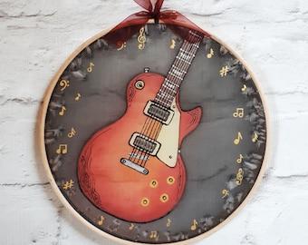 Guitar Silk Painting ~  Electric Guitar Art, Custom Guitar Paitning, Gift for Guitarist, Musician gift, Guitar Wall Hanging, Guitar gifts