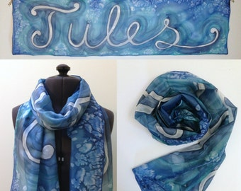 Personalised Silk Scarf ~ Custom gift for her, Scarf with Name On, Personalized Name Presents, One of A Kind, Monogram Scarf, Bespoke Shawl