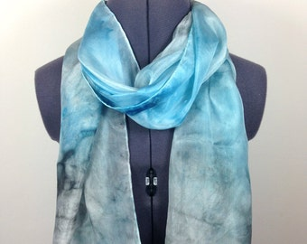 Cerulean Blue Silk Scarf ~ Hand Painted Silk Scarf, Scarf to wear at Winter Weddings, Xmas Presents for Mom, November Fashion Trends for her