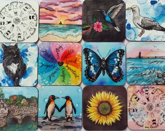 Glossy Drink Coasters ~ Printed from Silk Paintings, Nicola Davis Crafts, Coaster Set, Colourful Coasters, Mix and Match Coasters, Coaster