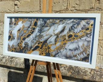 Original Silk Painting ~ Black and Gold Wall Art, Fluid Wall Art, Abstract Gold Painting, Black and White Art, Modern Wall Art, Black Decor