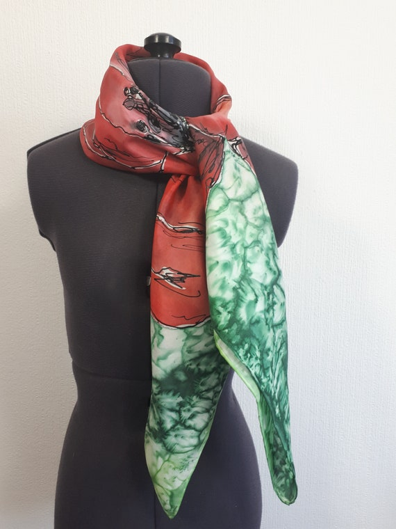 Blue Poppy With Red Metallic Print Scarf Scarves Shawl Remembrance Day gift