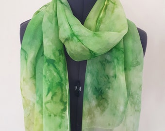 Light Green Silk Scarf ~ Lime Green Accessories, Chartreuse Scarf, Gift for Mom, Mothers Day Presents, Light Green Shawl, Green Fashion