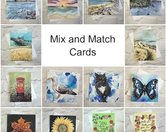 Pack of Greetings Cards, Eco Friendly Card Set, Mix and Match Cards, Pack of Blank Cards, Nicola Davis Crafts Cards, Blank Birthday Cards