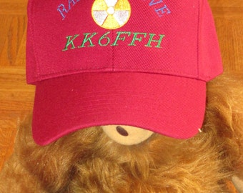 """Custom embroidered hats / caps, """"HAM RADIO HAT""""  with radio active and your callsign"""