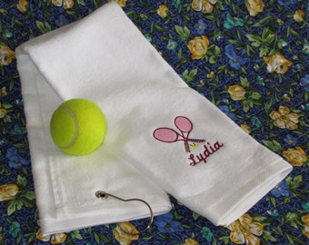 Custom Embroidered Tennis Towel - All Cotton Terry - Personalized - Embroidered - Tennis Gift