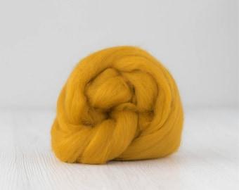 Merino silk roving, Saffron, 100 grams/3.5 oz
