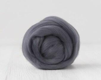 Merino silk roving, Storm, 100 grams/3.5 oz