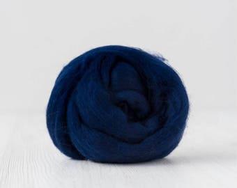 Merino silk roving, Tuareg blue, 100 grams/3.5 oz