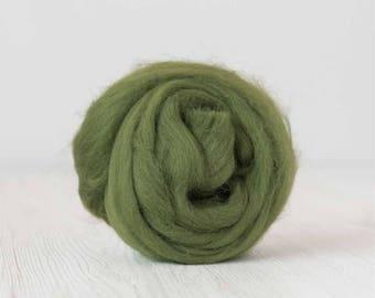 Merino silk roving, Ivy, 100 grams/3.5 oz