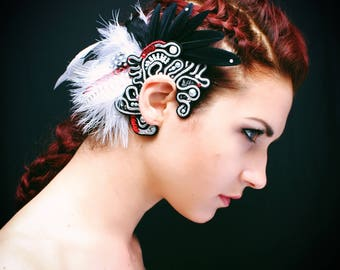 boho, soutache ear cuff, black and white, prom, wedding, feather extension